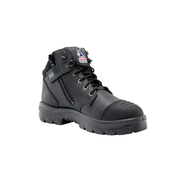 Steel Blue Mens Parkes Zip Scuff Black 5-Inch Zip and Lace-Up Hiker Style Work Boot